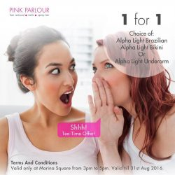 Pink Parlour: Enjoy 1 for 1 Alpha Light Brazilian / Bikini / Underarm at Marina Square Outlet