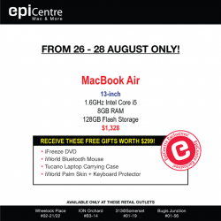 EpiCentre: Receive FREE GIFTS worth $299 instantly when you buy a Macbook Air 13.3-inch