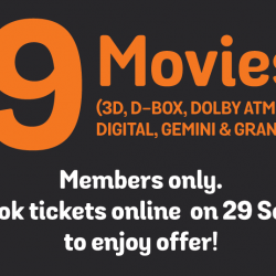 Golden Village: Member Exclusive $9 Movie Ticket Promotion for Selected movies in 3D, Gemini, Grand Seat, D-Box, Dolby Atmos