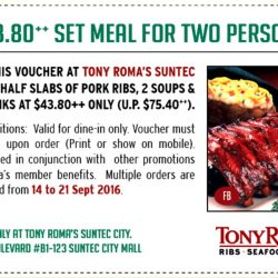 Tony Roma's: Download Voucher to save $31.60 on Set Meal for 2 at Suntec City