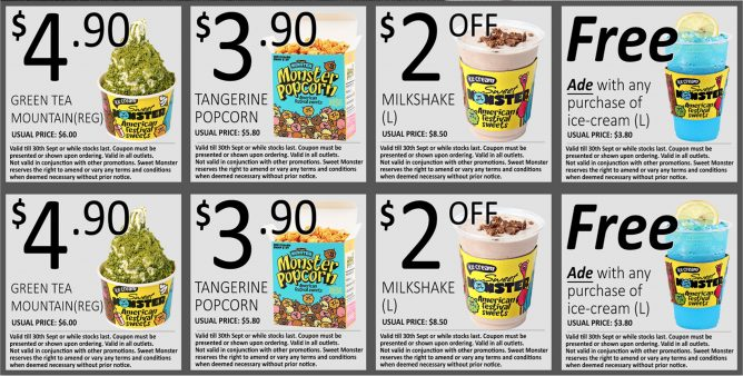 Sweet Monster: Coupon Deals on Ice Cream, Popcorn & Milkshakes