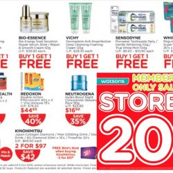Watsons: Members' Only Sale - Storewide 20% OFF for Members & Buy 1 Get 1 FREE Offers