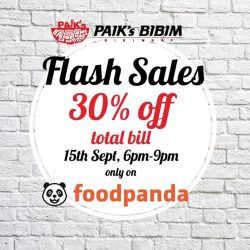 Paik's Bibim: CHUSEOK SPECIAL - 30% off total bill when you order from foodpanda tonight
