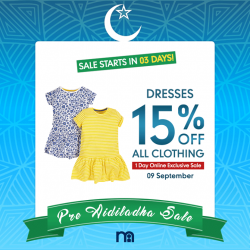 Mothercare: Online Exclusive Pre Aidiladha Clothing Sale - 15% OFF All Clothing