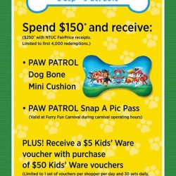 City Square Mall: Spend a minimum of $150* and receive a PAW PATROL Dog Bone Mini Cushion