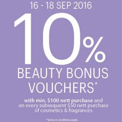 Isetan: Enjoy 10% Beauty Bonus Vouchers with min $100 purchase and on every subsequent $50 purchase