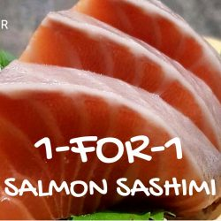 The Sushi Bar Dining: 1-for-1 Salmon Sashimi + Beer Offers All Day from Monday to Thursday