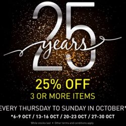 A|X Armani Exchange: Purchase 3 or more items & enjoy 25% off every Thursday to Sunday in October