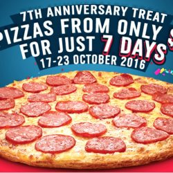 Domino's Pizza: 7th Anniversary Promotion - Get Your Favourite Thin Crust Pizza from $7 Only!