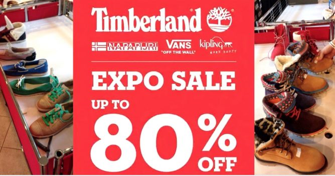 7f853d9664 2 - 5 Nov 2017 Timberland: Expo Sale up to 80% OFF Timberland, Vans, Kipling  & Napapijri
