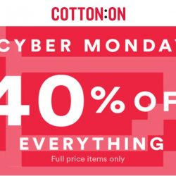 Cotton On: Cyber Monday Online Exclusive Sale 40% OFF Full Price Items Sitewide