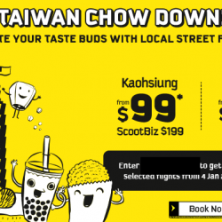 FlyScoot: Fly to Taiwan with All-In One Way Fares from $99 + Additional 20% OFF Selected Dates