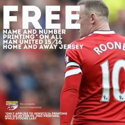 [Premier Football Singapore] FREE name and number printing* when you purchase the Manchester United 15/16 Home or Away jersey. Add $10.00