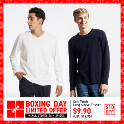 [Uniqlo Singapore] Enjoy $10 off these Soft Touch Long Sleeve T-Shirts. The shirt's fluffy, warm texture keeps you comfortable in