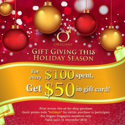 [Organi] Last day to avail this promo!Gift Giving this Holiday Season! For every $100 spent, get $50 back in gift