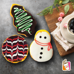 [Dunkin' Donuts Singapore] Gift some deliciousness with our festive flavors: Snowman (strawberry-filled with white chocolate frosting), Chocolate Tree (chocolate-filled with chocolate