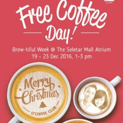 [O' Coffee Club] It's FREE COFFEE DAY @ The Seletar Mall!Swing by The Seletar Mall, visit us at the atrium for a