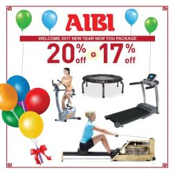 [AIBI] Happy New Year 2017! Your fitness resolution comes true with all the great offers. Call 62380082 / 63340322. Visit Aibi Roadshow