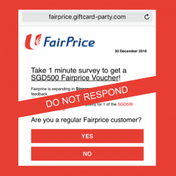 [NTUC FairPrice] It has been brought to our attention that there is a survey link being passed around via WhatsApp message that