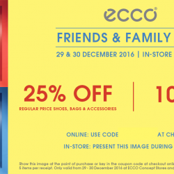 ECCO: Friends & Family Sale with 25% OFF Regular-Priced Items + Extra 10% OFF Sale Items In Stores & Online!