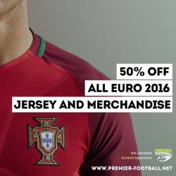 [Premier Football Singapore] Portugal Euro 2016 Home Jersey and all other Euro 2016 jersey and merchandise now 50% off. https://goo.gl/1KF9Dc