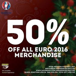 [Premier Football Singapore] 50% off all Euro 2016 jersey and merchandise today until the 2nd of January 2017! Sale available both online and