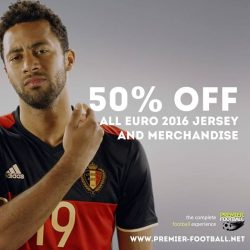 [Premier Football Singapore] 50% off Belgium and all Euro 2016 jersey & merchandise. Sale available both in store and online. https://goo.gl/1KF9Dc