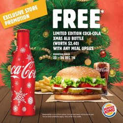 [Burger King® *Halal] We're giving the gift of Coke this Christmas at BK Viva. To redeem the freebie, upsize your meal from