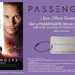 [Filmgarde Cineplex] Box office giveaway! Purchase a minimum of 2 tickets to PASSENGERS at the box office and receive a PASSENGERS luggage