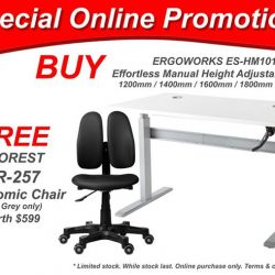 [Ergoworks] Special Online Deal! BUY ERGOWORKS effortless manual height adjustable desk FREE 1x DUOREST DR-297 ergonomic chair worth $599!Limited