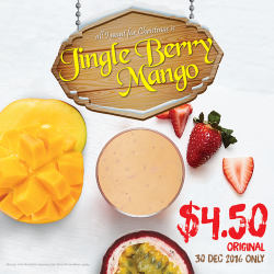 [Boost Juice Bars Singapore] Last chance to enjoy Jingle Berry Mango at a special rate today. Hurry up and march over to your nearest
