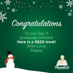 [PappaRich] Our lucky winners for Day 11 contest are Ada Thong Fonteyn Leow Murasaki Miki @Kathy Woon Tan and @Ajeek Syasya!