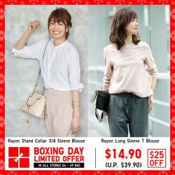 [Uniqlo Singapore] Enjoy $25 off the elegant Rayon Stand Collar 3/4 Sleeve Blouse and Rayon Long Sleeve T Blouse. They are