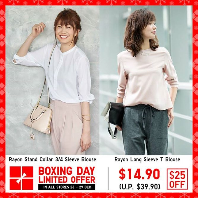f4cd8c7cff6df  Uniqlo Singapore  Enjoy  25 off the elegant Rayon Stand Collar 3 4 Sleeve  Blouse and Rayon Long Sleeve T Blouse. They are