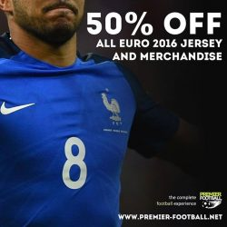 [Premier Football Singapore] 50% OFF all Euro 2016 jersey and merchandise. Available both in store and online. https://goo.gl/1KF9Dc