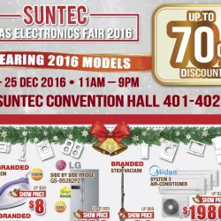 Suntec: X'mas Electronics Fair 2016 Up to 70% OFF + Extra 25% OFF for TV, Audio, Washer & Fridge Products
