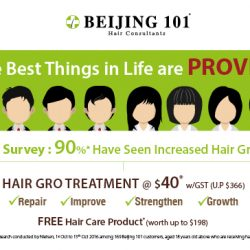 Beijing 101: Hair Gro Treatment at only $40 + Get FREE Hair Care Product (worth up to $198)
