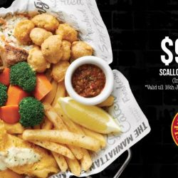 The Manhattan FISH MARKET: Scallops Fish Chicken Set Inclusive of a Drink at just $9.95 for a Limited Time Only!