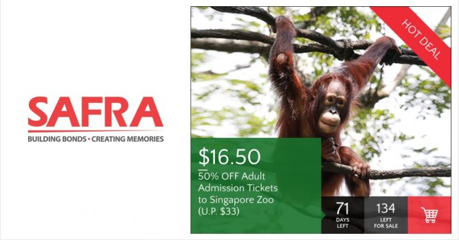 Exclusively for Safra members, enjoy 50% off Adult admission tickets to Singapore  Zoo from now till 31 March 2017!