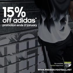 [Premier Football Singapore] Mix and match any regular priced Adidas footwear with any regular priced Adidas shoe bag & socks and enjoy 15% off