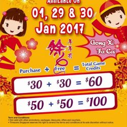 [Timezone] Time for some FUN and GAMES along with the CNY celebrations ! Double dollar deal is available at all Timezone Singapore