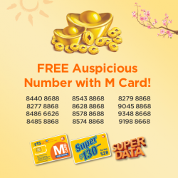 [M1] Get these lucky numbers for FREE (U.P. up to $214) at M1 Shop Paragon, when you buy a $15