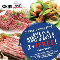 [SSIKSIN BBQ] Ssiksin Korean BBQ Buffet, Sun Plaza #02-14 Daily Dinner promotion. 2+1. With 2 full paying diners, the 3rd