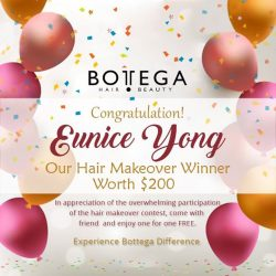 [BOTTEGA hair & beauty ] Congratulations to our Hair Makeover Winner, Eunice Yong! Thank you for participating here at Bottega Salon's contest! Experience the