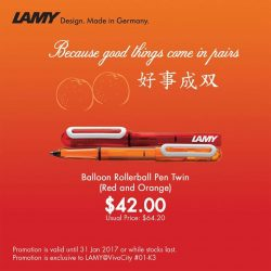 [LAMY Singapore] Get Lamy Balloon Rollerball Pen in Red and Orange to usher in the Chinese New Year. Offer is exclusive to