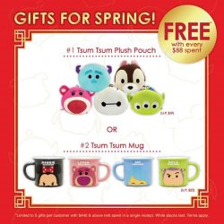 [Bossini Singapore] This Lunar New Year, spend $88 at #bossinisg and get a Tsum Tsum Collectible for FREE*! Visit our shops to