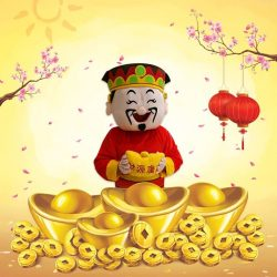 [M1] Head down to M1 Shop Waterway Point today to meet the God of Fortune as he dispenses good luck and