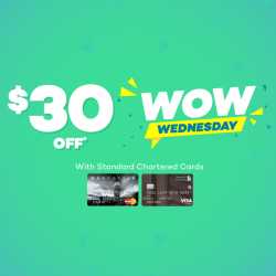 Lazada: Coupon Code for $30 OFF with Standard Chartered Cards on Wednesdays
