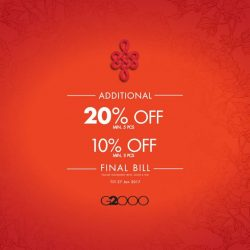 [G2000 Outlet] Doing some last-minute CNY shopping? Your wallets will thank us for these great deals.Enjoy an additional 10% off