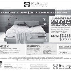 [Sealy Singapore] It's our 1st Anniversary at Plaza Singapura! Purchase our Sealy UniCased Posturepedic Lensbury (Queen-size) with Latex at $3,